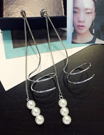 Fashion Silver Color Pearl Decorated Spiral Design Pure Color Earrings