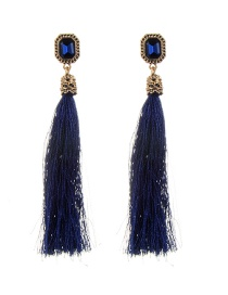 Fashion Navy Diamond Decorated Tassel Design Pure Color Earrings