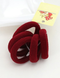 Cute Claret-red Pure Color Decorated Simple Round Shape Hair Band (5pcs)