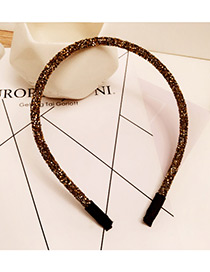 Fashion Champagne Diamond Decorated Pure Color Simple Hair Hoop