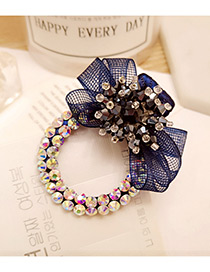 Elegant Navy Diamond Decorated Flower Shape Pure Color Simple Hairpin