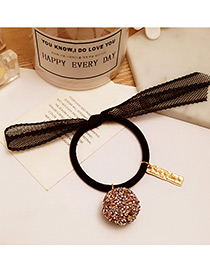 Elegant Pink Diamond Ball Decorated Pure Color Simple Hair Band