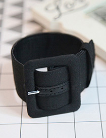 Fashion Black Buckle Shape Decorated Pure Color Simple Anklet