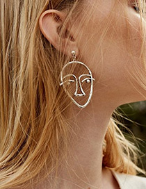 Personality Silver Color Hollow Out Human Face Decorated Earrings