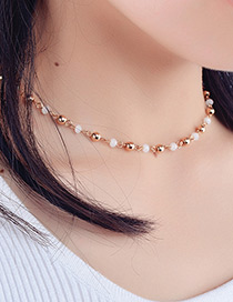 Fashion Gold Color Round Shape Decorated Choker