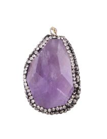 Personality Purple Stone Shape Decorated Simple Irregularity Pendant