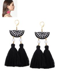 Bohemia Black Tassel Decorated Simple Semicircle Design Simple Earrings