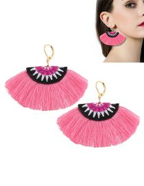 Bohemia Pink Fan Shape Decorated Simple Tassels Short Earrings