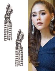 Elegant Silver Color Round Shape Decorated Bowknot Design Pure Color Long Earrings