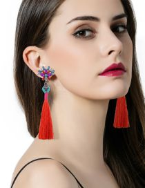 Bohemia Red Square Shape Diamond Decorated Simple Long Tessel Earrings