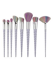 Fashion Light Purple Unicorn Design Pure Color Decorated Simple Cosmetic Brush (8pcs)