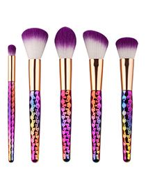 Fashion Multi-color Unicorn Design Pure Color Decorated Simple Cosmetic Brush (5pcs)