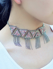 Fashion Silver Color Tassel Decorated Triangle Shape Necklace