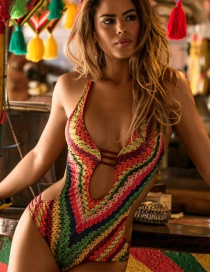 Sexy Multi-color Color Matching Decorated Simple Hollow Out Bathing Suit