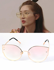 Fashion Pink Cat's Eye Shape Decorated Simple Pure Color Sunglasses
