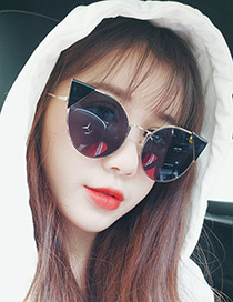 Fashion Black Cat's Eye Shape Decorated Simple Pure Color Sunglasses