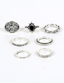 Vintage Silver Color Oval Shape Decorated Simple Pure Color Rings(7pcs)