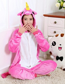 Lovely Plum-red Unicorn Design Color Matching Connection Pajamas
