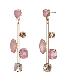 Elegant Pink Geometric Shape Diamond Decorated Simple Earrings