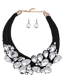 Luxury White Oval Shape Diamond Decorated Simple Hand-woven Jewelry Sets