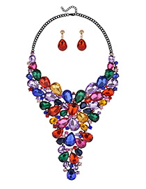 Luxury Multi-color Oval Shape Diamond Decorated Color-matching Jewelry Sets
