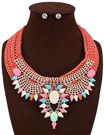 Bohemia Orange Hollow Out Decorated Simple Hand -woven Jewelry Sets