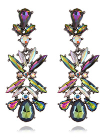 Vintage Multi-color Geometric Shape Diamond Decorated Simple Earrings
