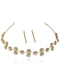 Elegant Gold Color Round Shape Decorated Pure Color Hair Clasp