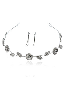 Elegant Silver Color Round Shape& Leaf Shape Decorated Simple Hair Clasp