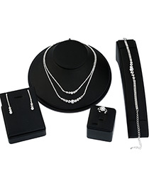 Elegant Silver Color Double Layer Design Pure Color Jewelry Sets