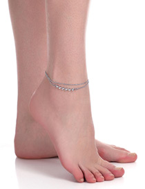 Fashion Silver Color Round Shape Diamond Decorated Simple Double Layer Anklet