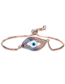 Personality Rose Gold Hollow Out Eye Decorated Bracelet