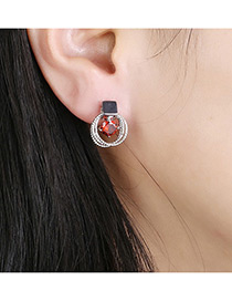 Elegant Silver Color Round Shape Diamond Decorated Multilayer Earrings