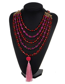 Exaggerate Plum-red Long Tassel Decorated Simple Multilayer Necklace