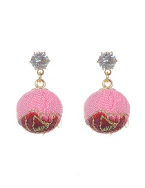Bohemia Pink Rose Decorated Simple Short Chain Earrings