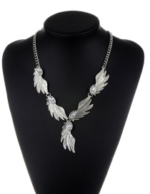 Vintage Silver Color Metal Wing Decorated Pure Color Long Chain Necklace