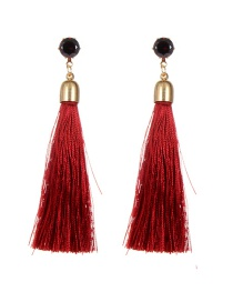 Bohemia Claret-red Pure Color Decorated Long Chain Earrings