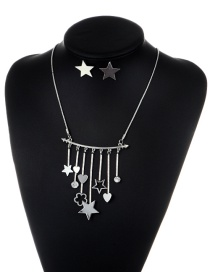 Fashion Silver Color Star & Heart Shape Pendant Decorated Simple Jewelry Sets