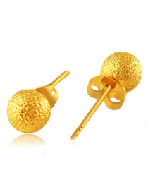 Elegant Gold Color Round Shape Decorated Simple Pure Color Earrings