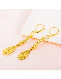 Elegant Gold Color Leaf Shape Pendant Decorated Simple Pure Color Earrings