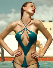 Sexy Green Round Shape Decorated Simple Pure Color Swimwear