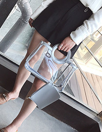 Fashion Silver Color Pure Color Decorated Transparent Shoulder Bag(2pcs)