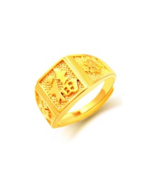 Exaggerate Gold Color Chinese Characters Decorated Simple Square Shape Ring