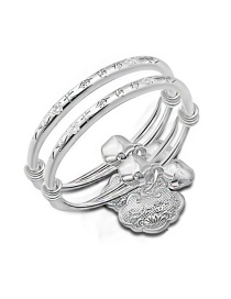 Fashion Silver Color Metal Lock Pendant Decorated Simple Baby Bracelet