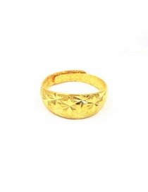 Fashion Gold Color Flower Pattern Decorated Simple Pure Color Opening Ring