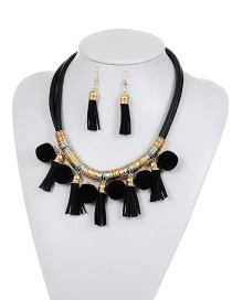 Bohemia Black Long Tassel Pendant Decorated Simple Pom Neckalce
