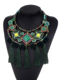 Bohemia Green Square Shape Decorated Simple Tassel Pom Necklace