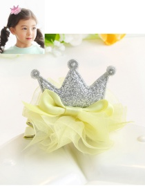 Lovely Yellow Flower&crown Decorated Pure Color Hairpin