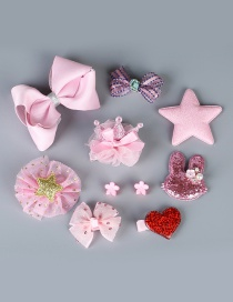 Lovely Pink Stars&bowknot Decorated Color Matching Hairpin (10pcs)