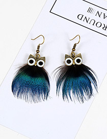 Vintage Blue Owl Shape Design Simple Earrings